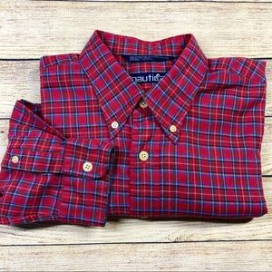 Nautica Large Plaid Red Long Sleeve Shirt